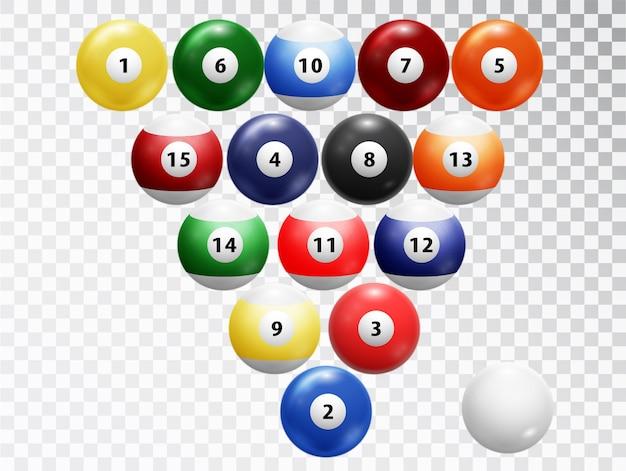 Billardkugeln isoliert. glänzend glänzende balls kollektion. Premium Vektoren