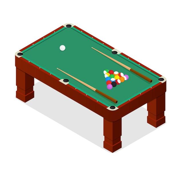 Billardtisch mit kugeln und cue isometric view. Premium Vektoren