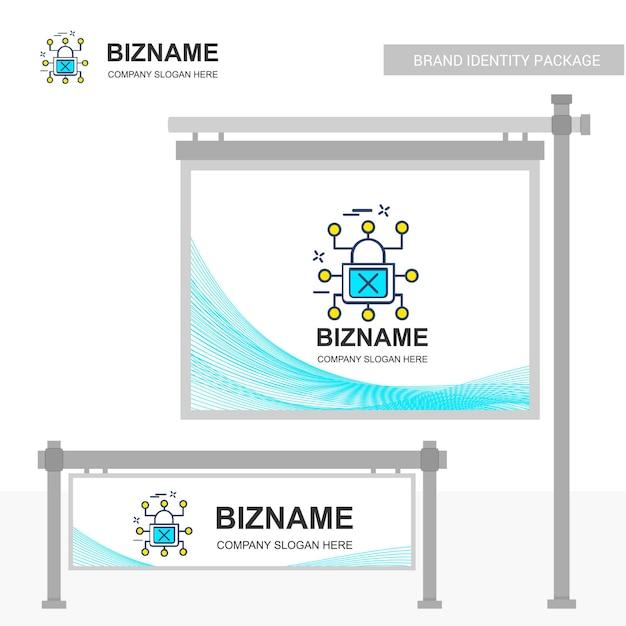 Billboard design mit cyber-sicherheit-logo Premium Vektoren