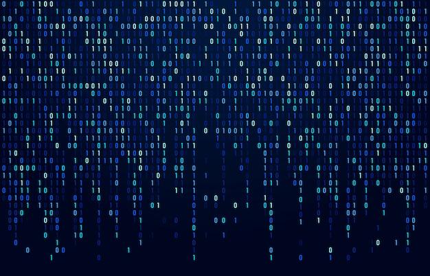 Binärcode-stream. digitale datencodes, hacker-codierung und krypto-matrix-nummern fließen. digital blauer bildschirmauszugshintergrund Premium Vektoren
