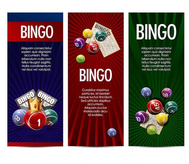 Bingo-lotterielottospiel-vektorfahnen eingestellt Premium Vektoren