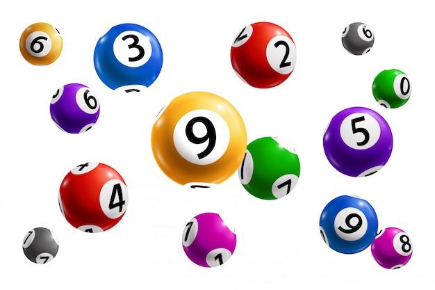 Bingo, lotto und keno lotteriekugeln mit zahlen Premium Vektoren