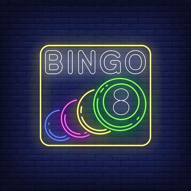 Bingo neon schriftzug mit kugeln. Kostenlosen Vektoren