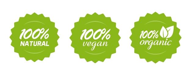 Bio-etikett für natürliche und vegane lebensmittel oder nährstoffe, 100 prozent gesunde mahlzeit, grünes abzeichen für produktaufkleber mit blättern Premium Vektoren