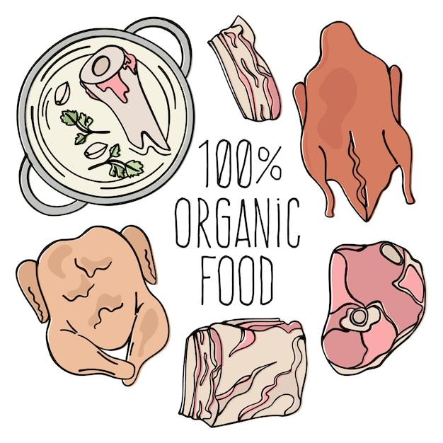 Bio fleisch carnivore natural food Premium Vektoren
