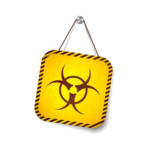 Bio hazard grunge warnschild hängt am seil auf weiß Premium Vektoren