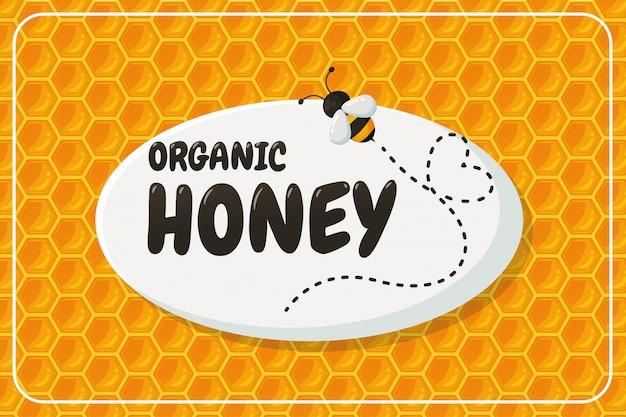 Bio-honig-label mit waben-design Premium Vektoren