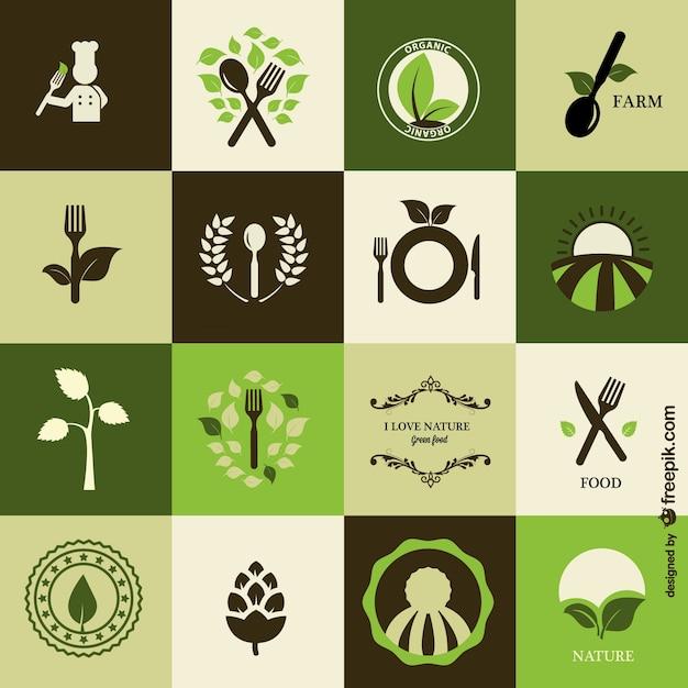 Bio-küche-symbole frei Kostenlosen Vektoren