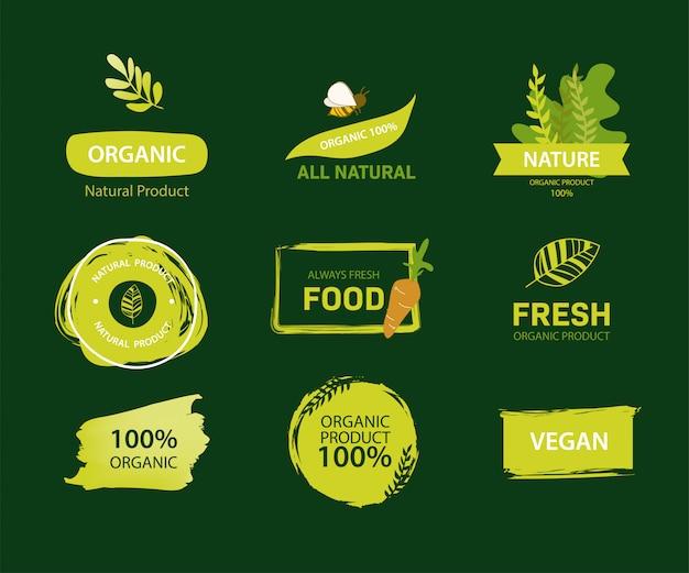 Bio-label und grüne farbe des natürlichen labels. Premium Vektoren