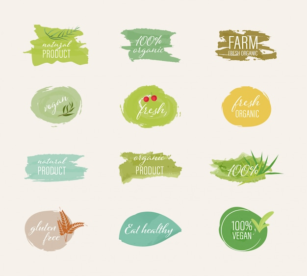 Bio-label und natürlicher label-aquarell-pinselstil. Premium Vektoren