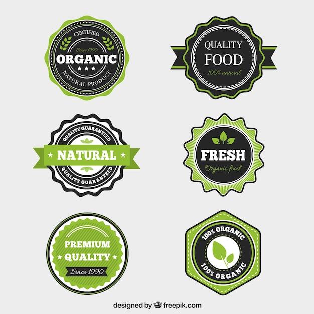 Bio-lebensmittel-label-kollektion mit flachem design Kostenlosen Vektoren