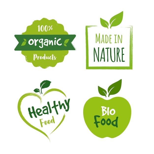 Bio-lebensmittel-logo-sammlung Premium Vektoren
