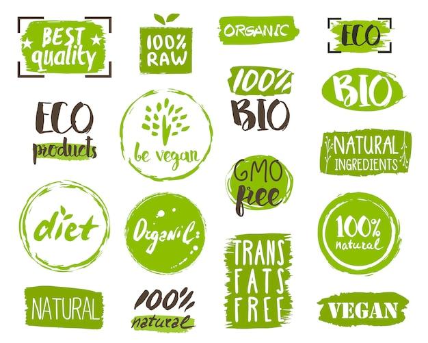 Bio-lebensmittel-tags, elemente und logo Premium Vektoren