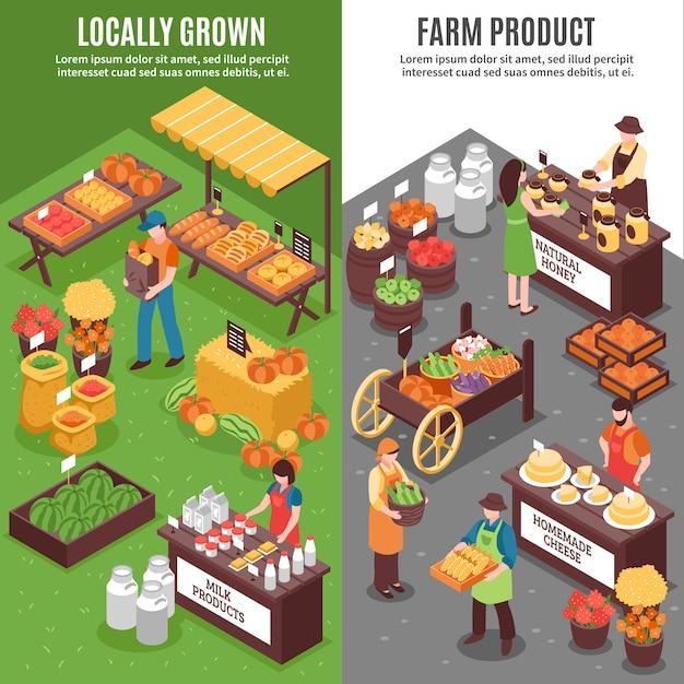 Bio-markt vertikale banner Kostenlosen Vektoren