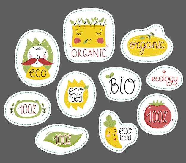 Bio-, öko- und bio-lebensmittel-etiketten festgelegt. Premium Vektoren