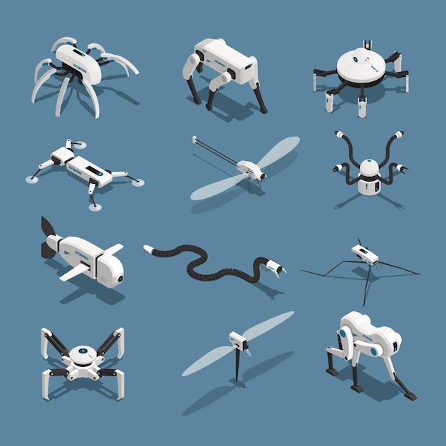 Bio-roboter isometrische symbole Kostenlosen Vektoren