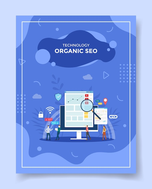 Bio-seo für vorlage von bannern, flyer, buchcover, magazin Premium Vektoren