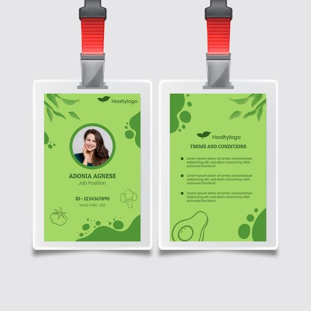 Bio und gesunde lebensmittel id-karte vorlage Kostenlosen Vektoren