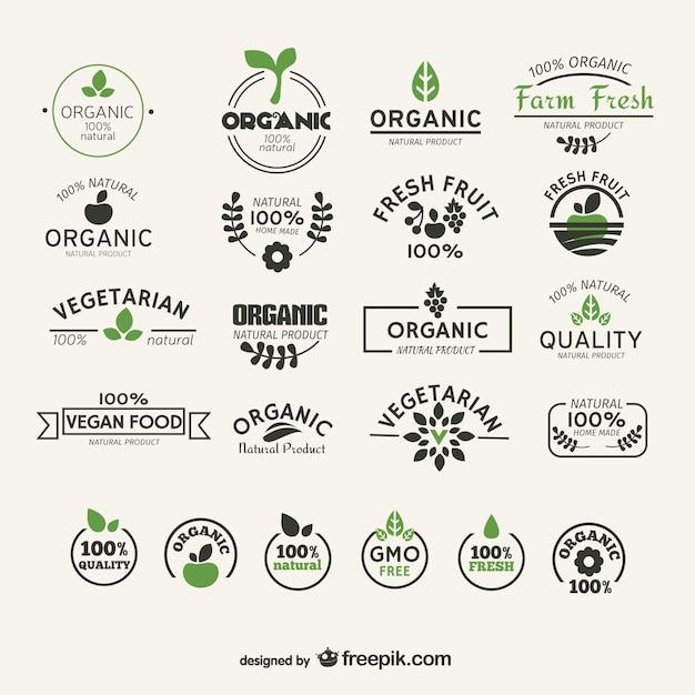 Bio-und naturkost-etiketten sammlung Kostenlosen Vektoren