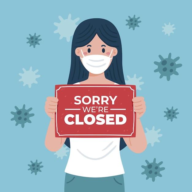 Bio-wohnung frau hält eine entschuldigung, wir sind schild wegen coronavirus geschlossen Kostenlosen Vektoren