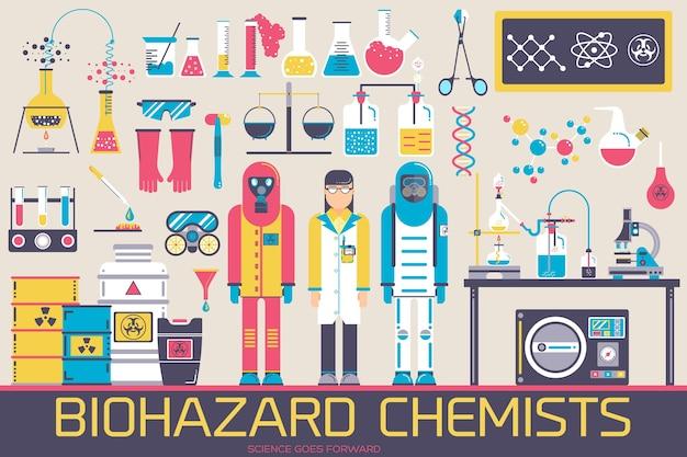 Biohazard-chemiker im chemielabor-illustrationskonzeptsatz Premium Vektoren
