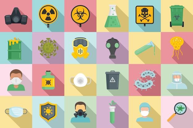 Biohazard icons set. flacher satz von biogefährdungssymbolen für webdesign Premium Vektoren