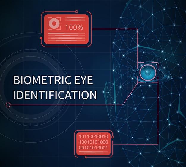 Biometrische augenidentifikationszusammenfassung dargestellt, die schutz unter verwendung der identifizierung durch augenirisvektorillustration bereitstellt Kostenlosen Vektoren