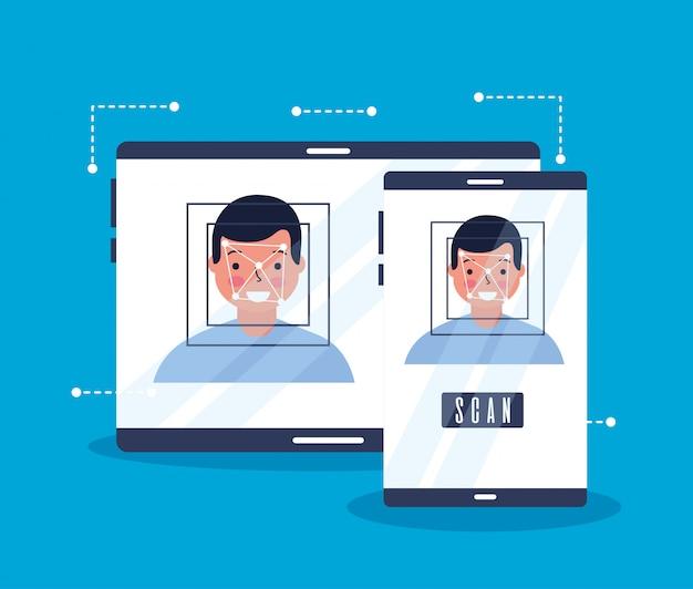 Biometrische digitaltechnik des manngesichts-scans Kostenlosen Vektoren