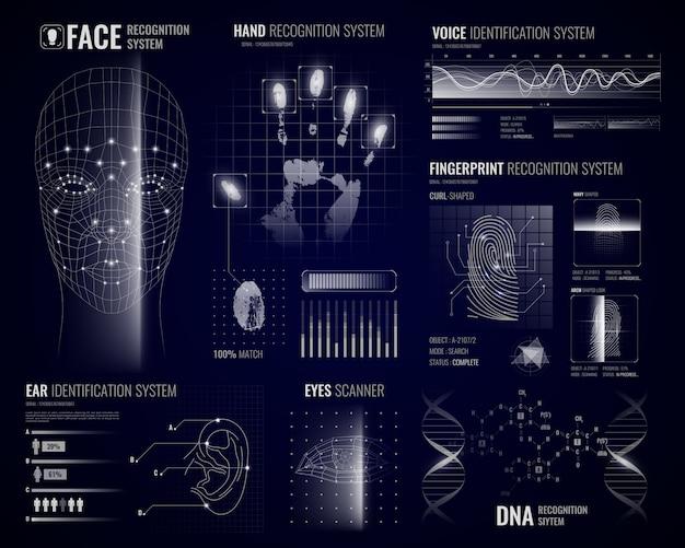 Biometrische erkennungssysteme hintergrund Kostenlosen Vektoren