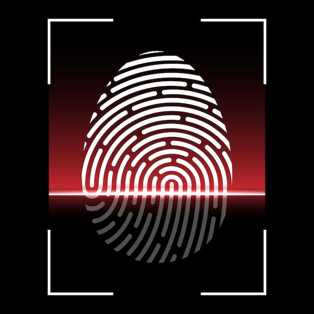 Biometrischer fingerabdruckscan, identifikationssystem Premium Vektoren