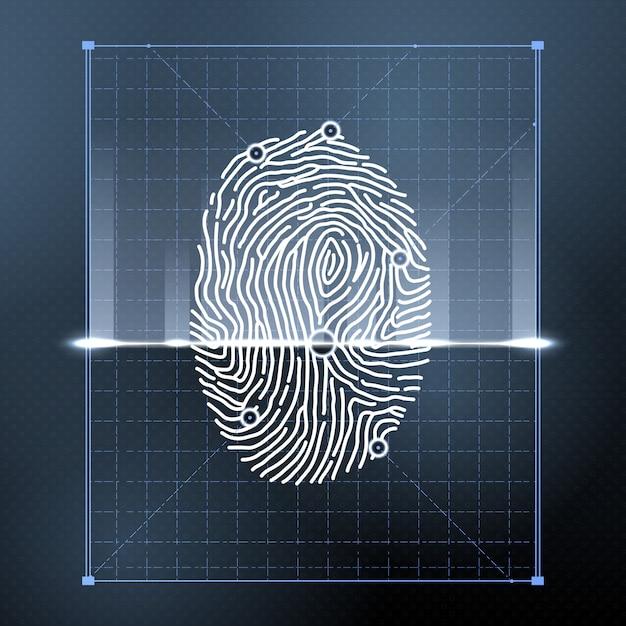 Biometrischer fingerabdruckscan zur persönlichen überprüfung. Premium Vektoren