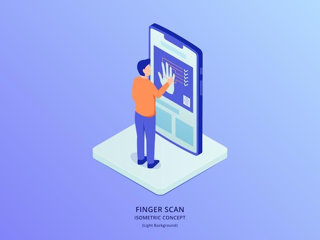 Biometrischer fingerabdruckscanner mit personen, die vor smartphone mit isometrischem stil stehen Premium Vektoren