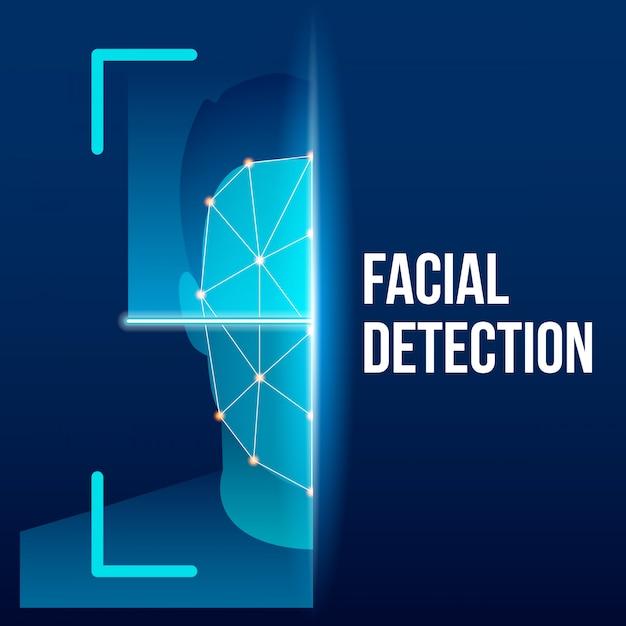 Biometrischer gesichtsüberprüfungsscan, identifizierung. Premium Vektoren