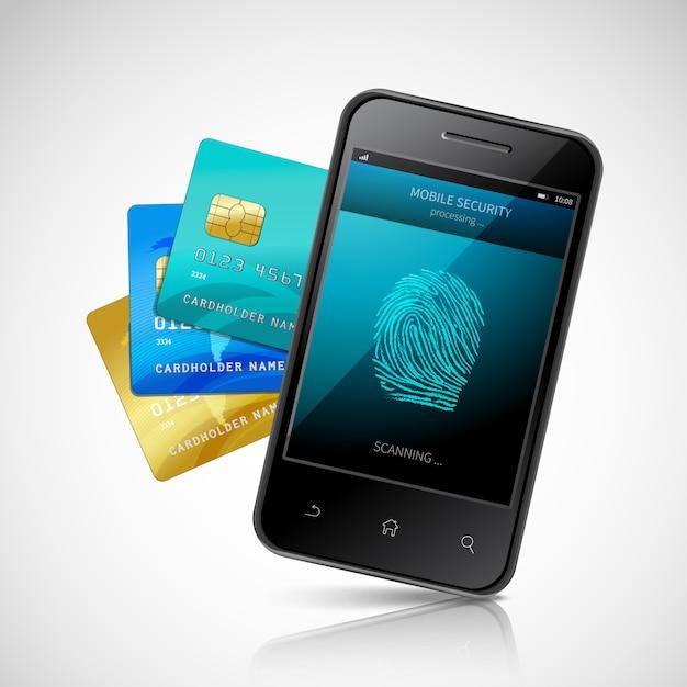 Biometrisches mobiles zahlungskonzept Kostenlosen Vektoren
