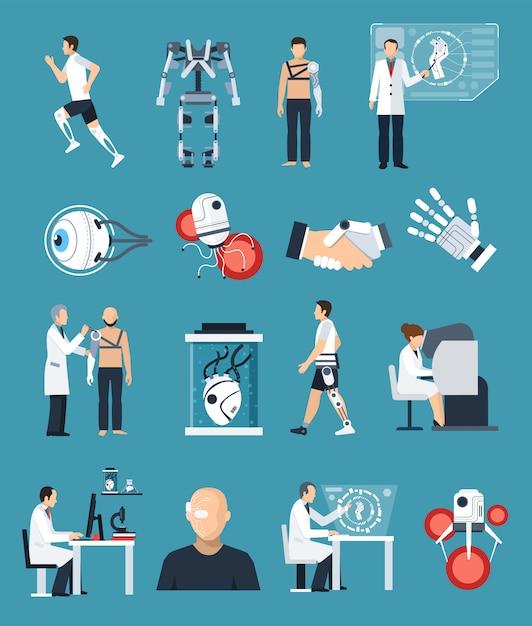 Bionik icons set Kostenlosen Vektoren