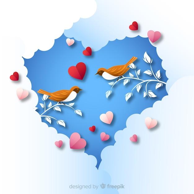 Birds valentine hintergrund Kostenlosen Vektoren