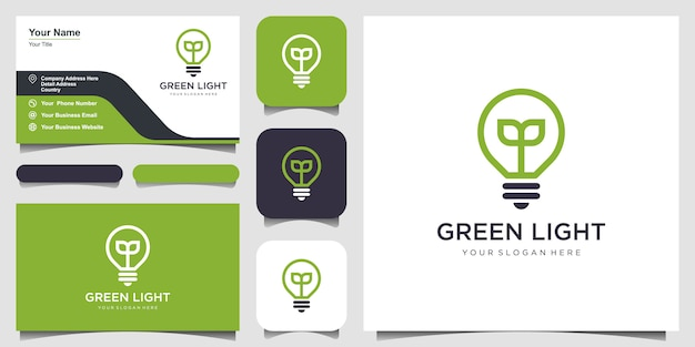 Birnenlampe naturblatt-logo und visitenkarte. Premium Vektoren