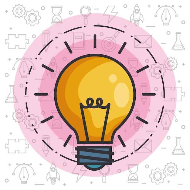 Birnenlichtidee der großen ideen inspiration innovation erfindung Premium Vektoren