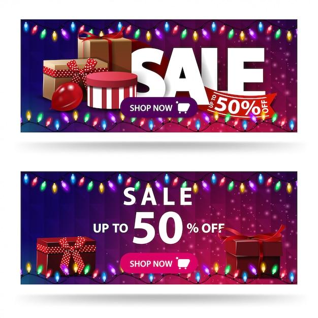 Bis zu 50% rabatt auf zwei lila rabatt-banner mit geschenkboxen und polygonaler textur Premium Vektoren