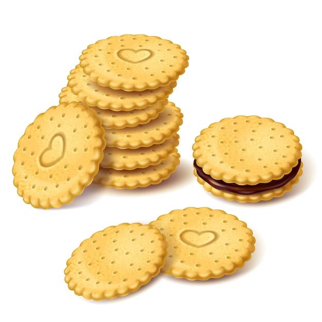 Biscuit cookies oder cracker mit sahne vektor Kostenlosen Vektoren