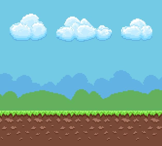 Bit-spielhintergrund des pixels 8 mit panorama des bodens und des bewölkten himmels. Premium Vektoren