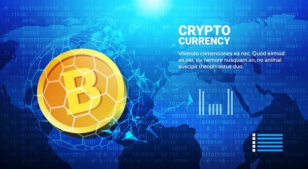 Bitcoin auf weltkarten-geldüberweisungs-konzept-kryptowährungs-digitalem zahlungssystem Premium Vektoren