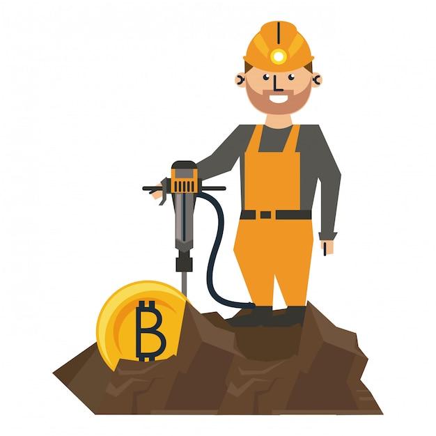 Bitcoin-bergbau und arbeiter mit bohrmaschine Premium Vektoren