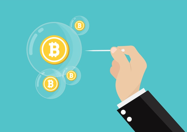 Bitcoin-blase platzte konzept. Premium Vektoren