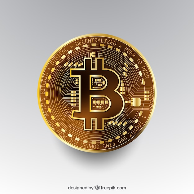 Bitcoin-hintergrund mit goldener münze Kostenlosen Vektoren