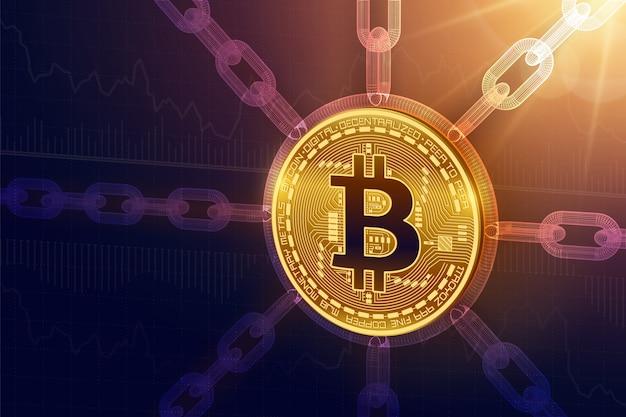 Bitcoin. isometrische physische 3d-bitcoin-münze mit drahtgitterkette Premium Vektoren