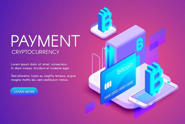 Bitcoin-kartenzahlungsillustration des cryptocurrency handels oder der digitalbanktechnologie Kostenlosen Vektoren