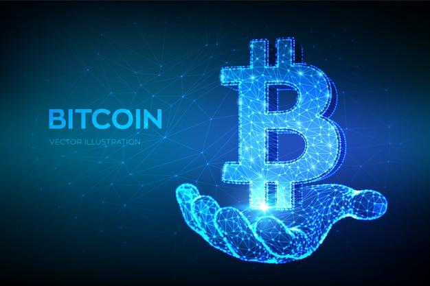 Bitcoin. niedrige polygonale abstrakte maschenlinie und punkt bitcoin unterzeichnen in der hand. kryptowährung. Premium Vektoren