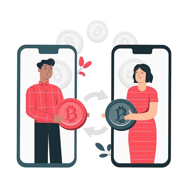 Bitcoin p2p-konzept illustration Kostenlosen Vektoren
