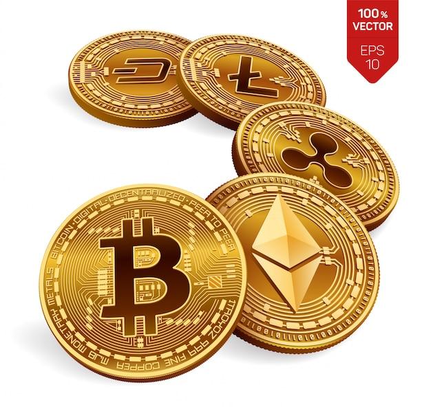 Bitcoin, ripple, ethereum, dash und litecoin physische münzen kryptowährung. Premium Vektoren